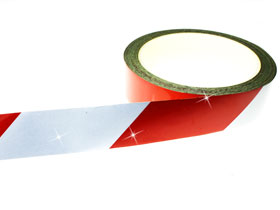 Warning Tape Red & White Chevron 50mm x 9M