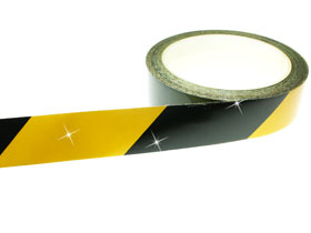 Warning Tape Black & Yellow Chevron 50mm x 9M